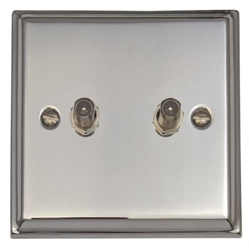 G&H DC237 Deco Plate Polished Chrome 2 Gang Satellite Socket Point